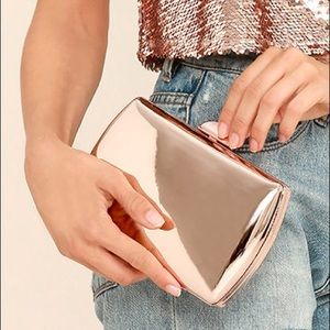 Lulus Townsend Mirrored Rose Gold Clutch